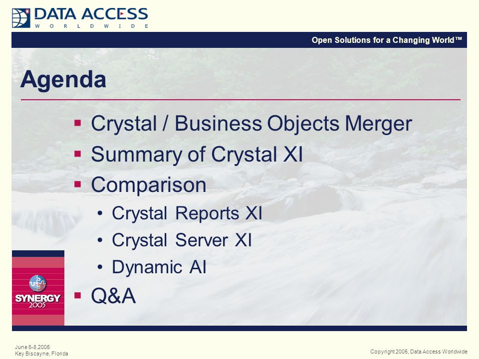 Open Solutions for a Changing World™ Copyright 2005, Data Access Worldwide June 6-8,2005 Key Biscayne, Florida Crystal & Business Objects  (the companies)  Merged in December 2003  Leaders in their respective categories B.O.
