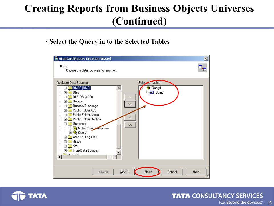 13 2. Creating Reports from Business Objects Universes (Continued) Select the Query in to the Selected Tables