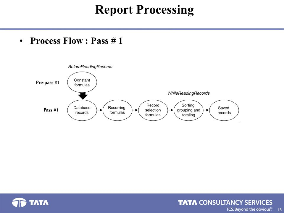 13 8. Process Flow : Pass # 1 Report Processing