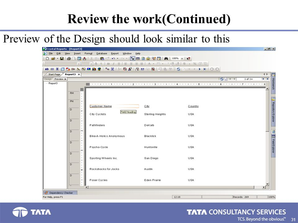 31. Review the work(Continued) Preview of the Design should look similar to this