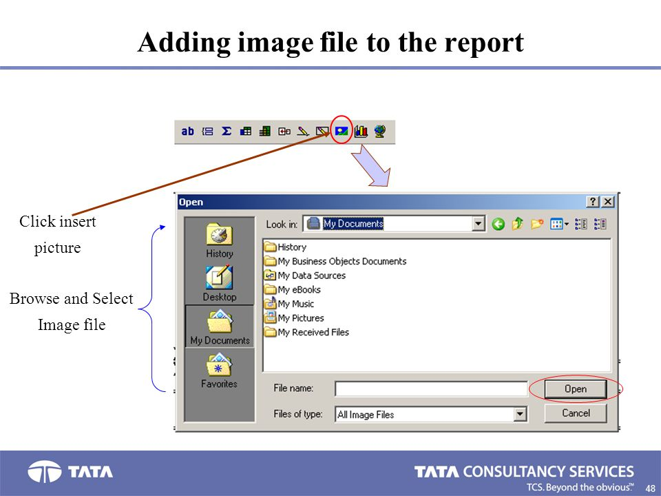 48. Adding image file to the report Click insert picture Browse and Select Image file