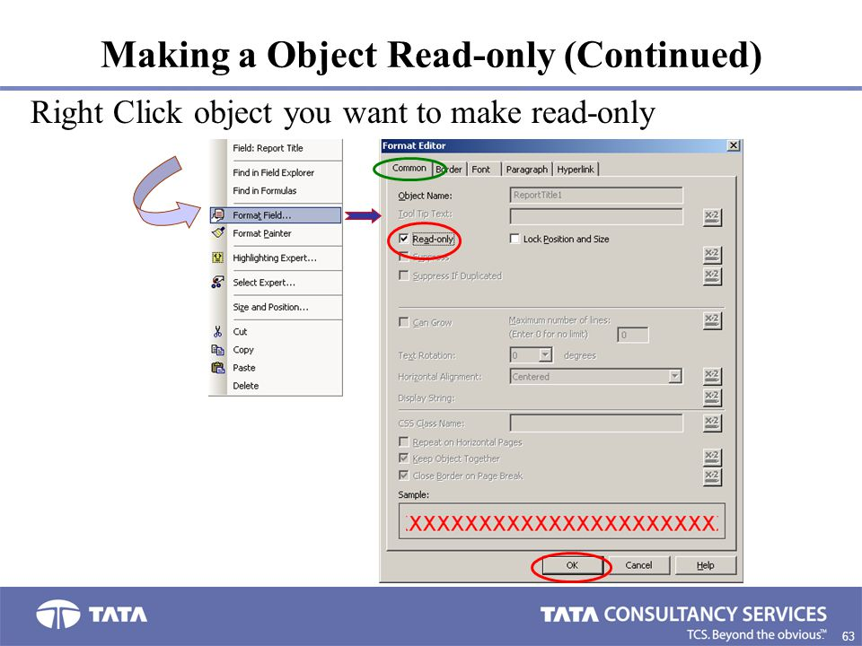 63. Making a Object Read-only (Continued) Right Click object you want to make read-only