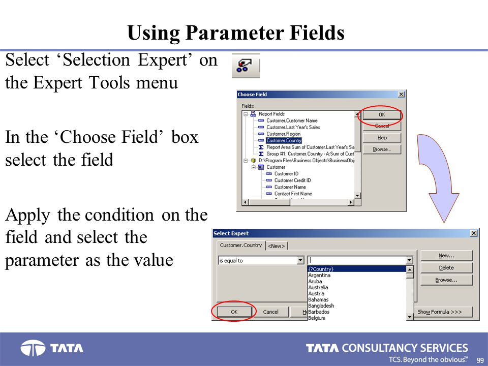 99. Select 'Selection Expert' on the Expert Tools menu In the 'Choose Field' box select the field Apply the condition on the field and select the para