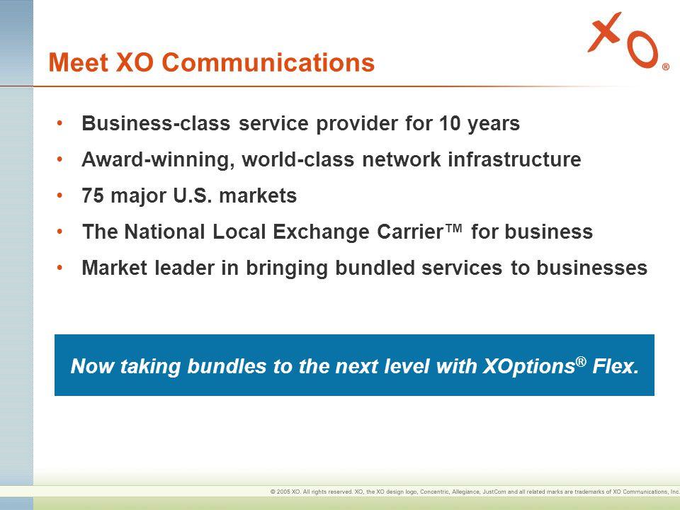 Meet XO Communications Business-class service provider for 10 years Award-winning, world-class network infrastructure 75 major U.S.