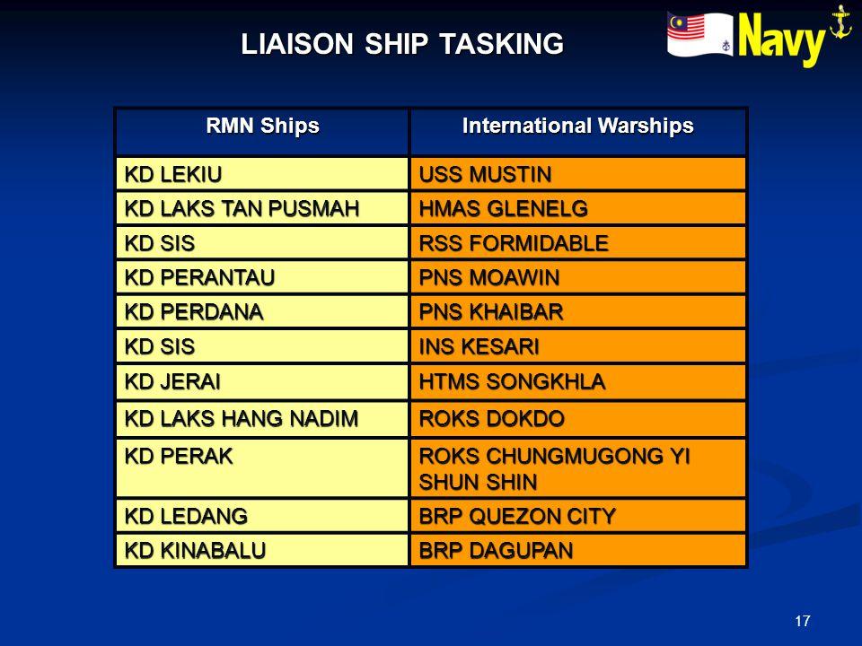 17 LIAISON SHIP TASKING RMN Ships International Warships KD LEKIU USS MUSTIN KD LAKS TAN PUSMAH HMAS GLENELG KD SIS RSS FORMIDABLE KD PERANTAU PNS MOA
