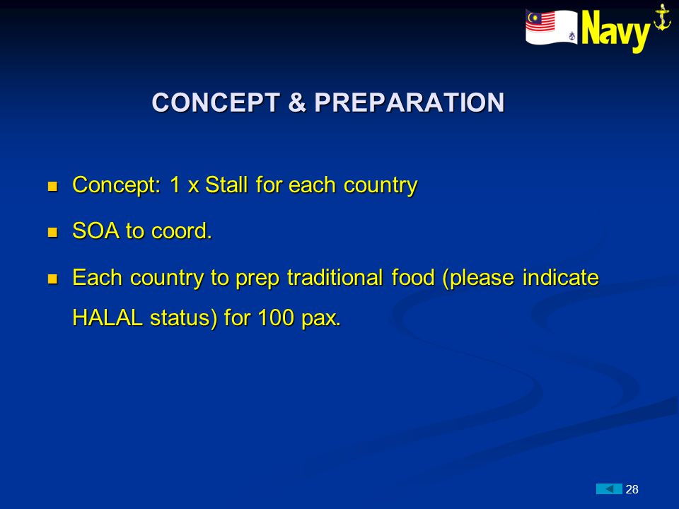 28 Concept: 1 x Stall for each country Concept: 1 x Stall for each country SOA to coord.