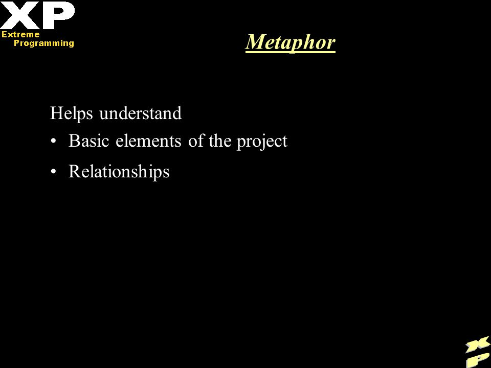 Metaphor Helps understand Basic elements of the project Relationships