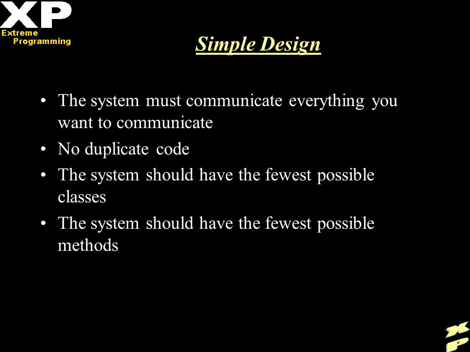 Simple Design The system must communicate everything you want to communicate No duplicate code The system should have the fewest possible classes The system should have the fewest possible methods