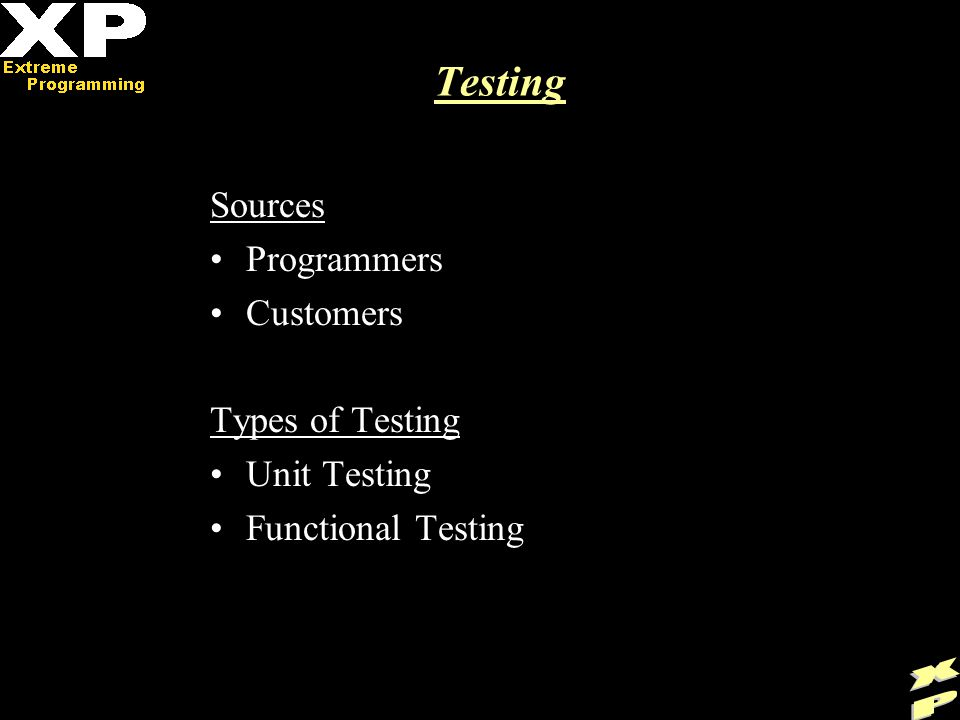 Testing Sources Programmers Customers Types of Testing Unit Testing Functional Testing