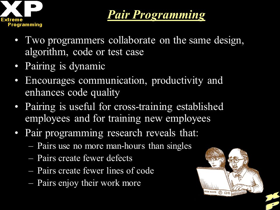 Pair Programming Two programmers collaborate on the same design, algorithm, code or test case Pairing is dynamic Encourages communication, productivity and enhances code quality Pairing is useful for cross-training established employees and for training new employees Pair programming research reveals that: –Pairs use no more man-hours than singles –Pairs create fewer defects –Pairs create fewer lines of code –Pairs enjoy their work more