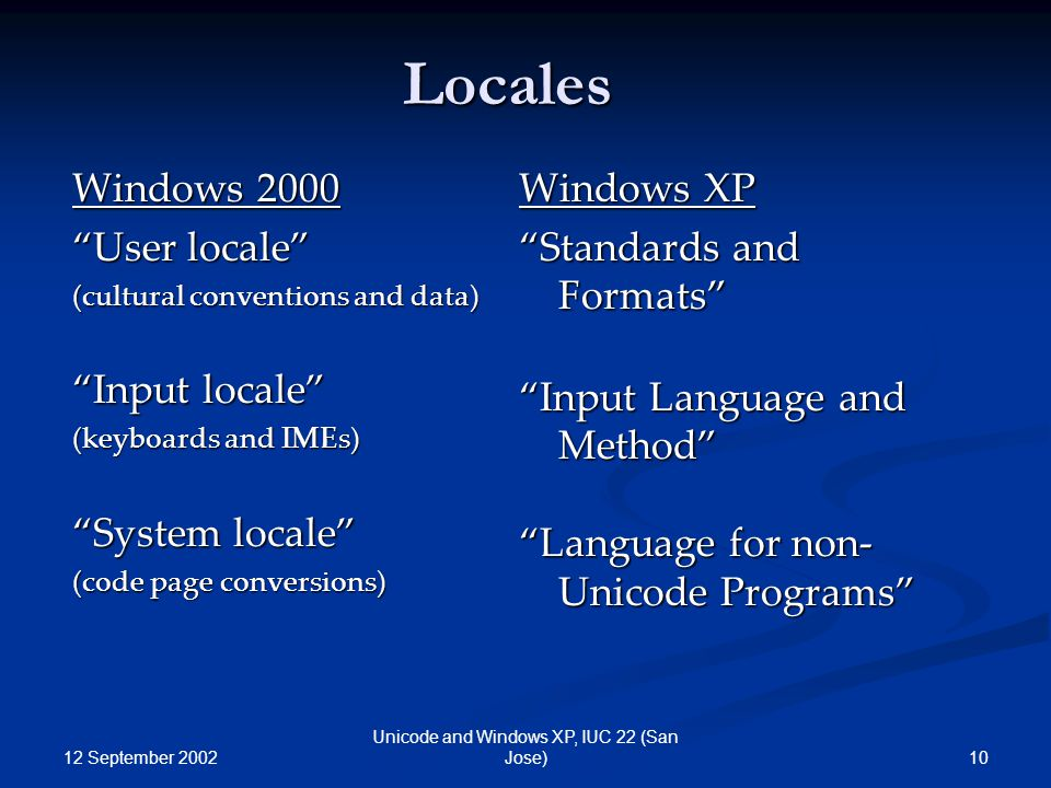 """12 September 2002 10 Unicode and Windows XP, IUC 22 (San Jose) Locales Windows 2000 """"User locale"""" (cultural conventions and data) """"Input locale"""" (keyb"""