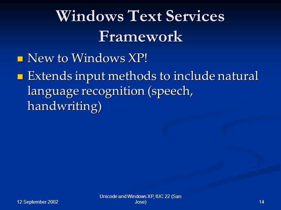 12 September 2002 14 Unicode and Windows XP, IUC 22 (San Jose) Windows Text Services Framework New to Windows XP! New to Windows XP! Extends input met