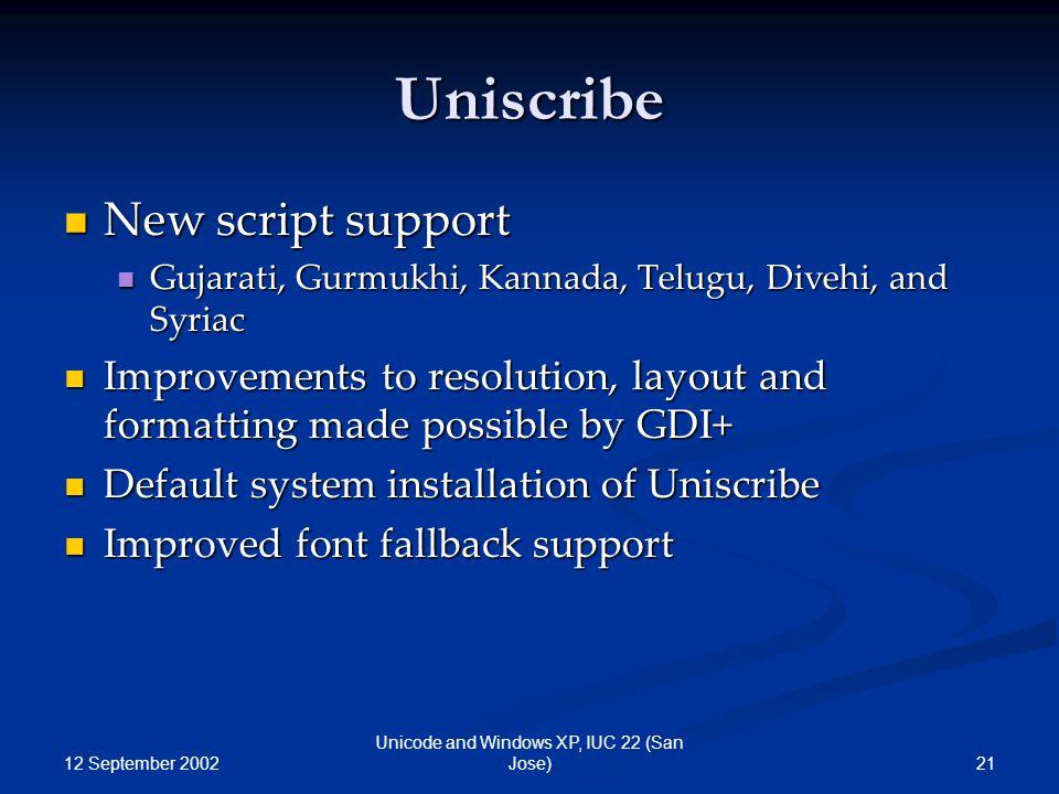 12 September 2002 21 Unicode and Windows XP, IUC 22 (San Jose) Uniscribe New script support New script support Gujarati, Gurmukhi, Kannada, Telugu, Di