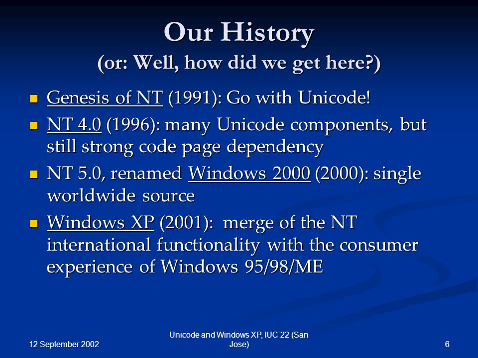 12 September 2002 6 Unicode and Windows XP, IUC 22 (San Jose) Our History (or: Well, how did we get here?) Genesis of NT (1991): Go with Unicode! Gene