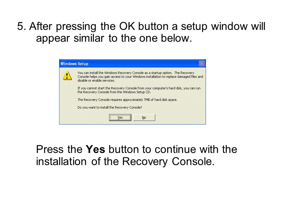 5. After pressing the OK button a setup window will appear similar to the one below. Press the Yes button to continue with the installation of the Rec