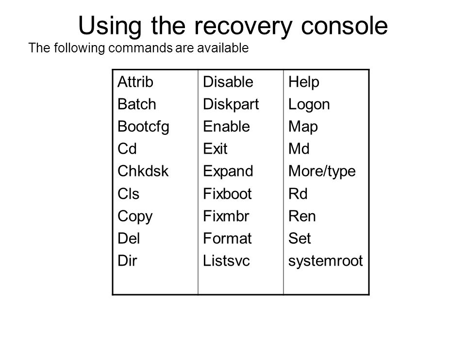 Using the recovery console The following commands are available Attrib Batch Bootcfg Cd Chkdsk Cls Copy Del Dir Disable Diskpart Enable Exit Expand Fi