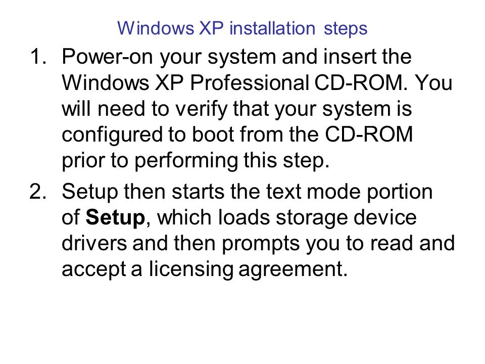 Initial file copy for Windows XP setup