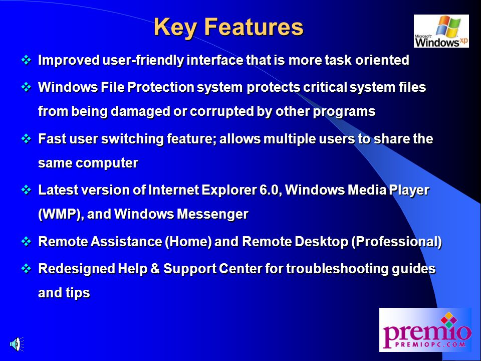 Windows XP Overview  Windows XP (WXP) is Microsoft's successor to Windows 2000 (W2K), which, in turn, replaced Windows NT  WXP is built on W2K foundation for stability and reliability  WXP merges the consumer and business operating system into one code base  In the past, Windows 9x/Me was designed for home/consumer use; while W2K was geared towards the business/corporate segment  But 9x/Me and W2K did not share the same foundation; this made it difficult for Microsoft and IT people to effectively support and maintain
