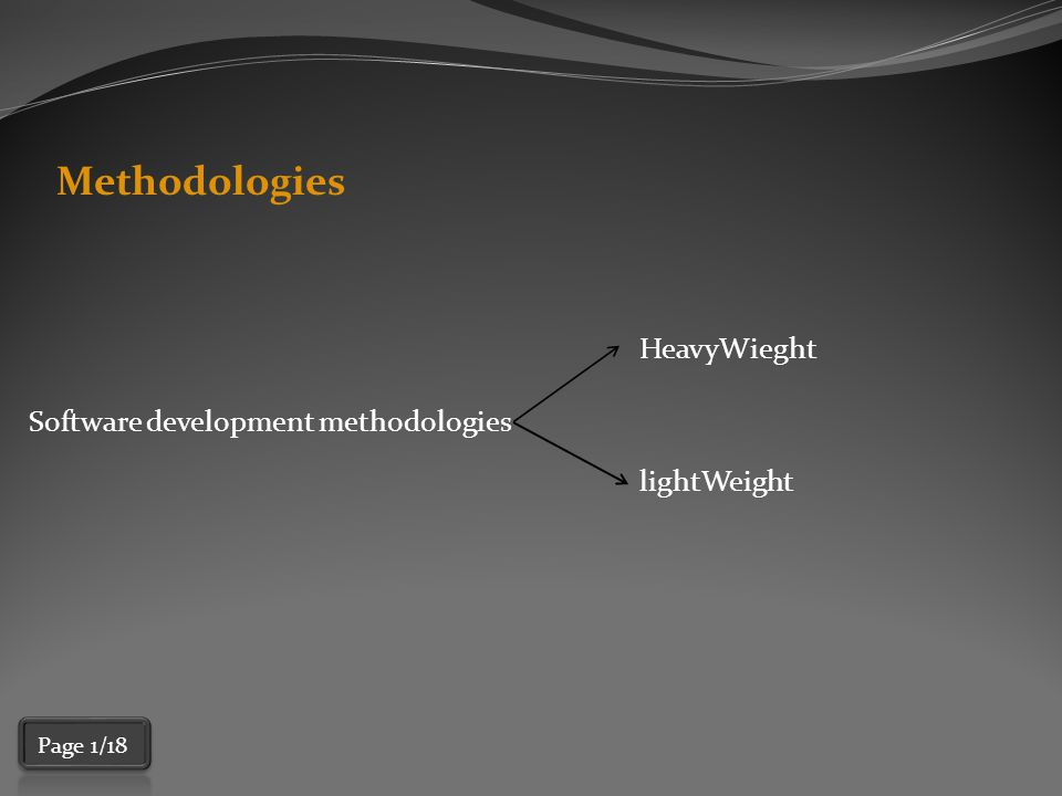 HeavyWeight Methodology  They are based on a sequential series of steps such as 1)requirements definition 2)solution building 3)testing 4)deployment  require defining and documenting a stable set of requirements at the beginning of a project.