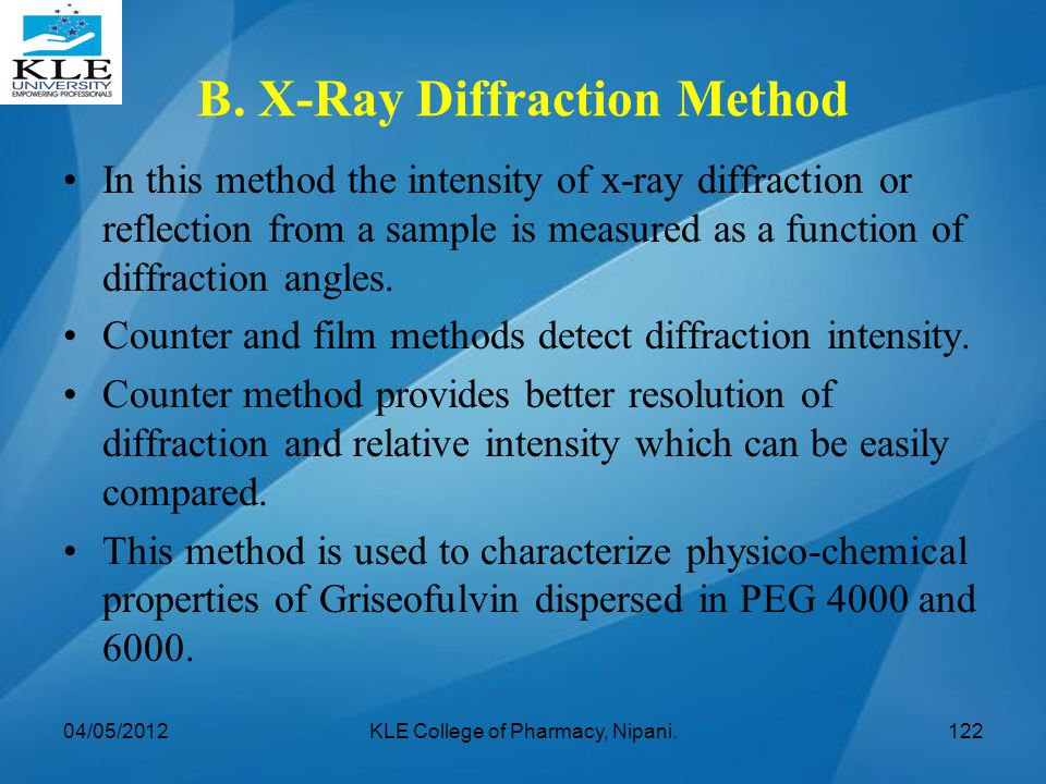B. X-Ray Diffraction Method In this method the intensity of x-ray diffraction or reflection from a sample is measured as a function of diffraction ang