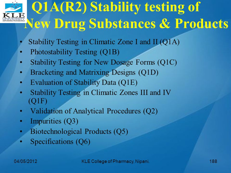 Q1A(R2) Stability testing of New Drug Substances & Products Stability Testing in Climatic Zone I and II (Q1A) Photostability Testing (Q1B) Stability T