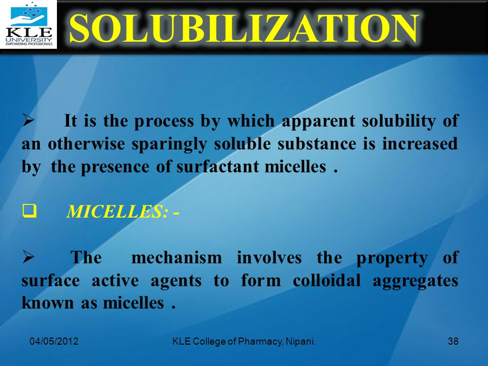  It is the process by which apparent solubility of an otherwise sparingly soluble substance is increased by the presence of surfactant micelles.  MI