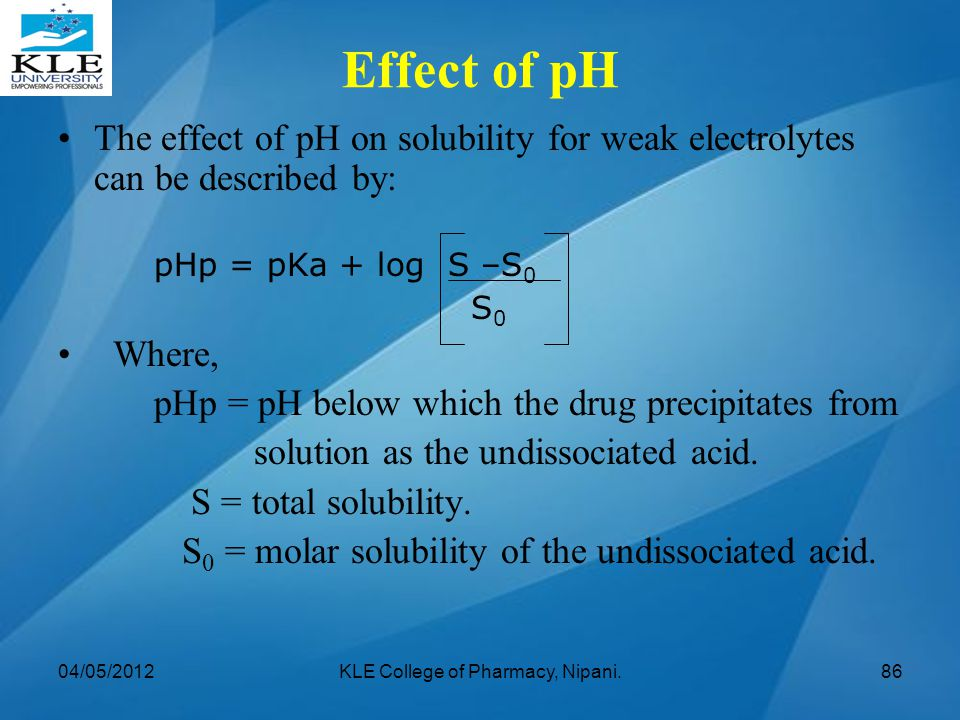 The effect of pH on solubility for weak electrolytes can be described by: pHp = pKa + log S –S 0 S 0 Where, pHp = pH below which the drug precipitates