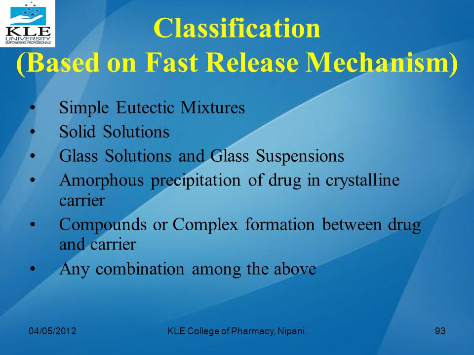 Classification (Based on Fast Release Mechanism) Simple Eutectic Mixtures Solid Solutions Glass Solutions and Glass Suspensions Amorphous precipitatio