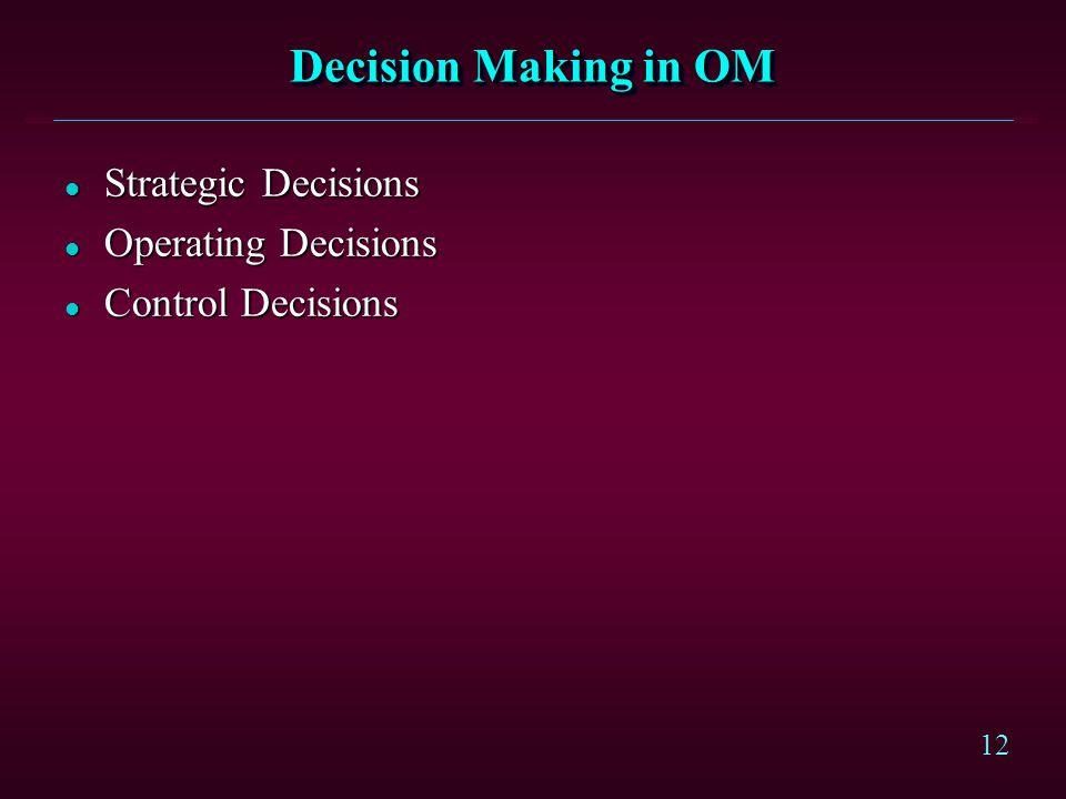 12 Decision Making in OM l Strategic Decisions l Operating Decisions l Control Decisions