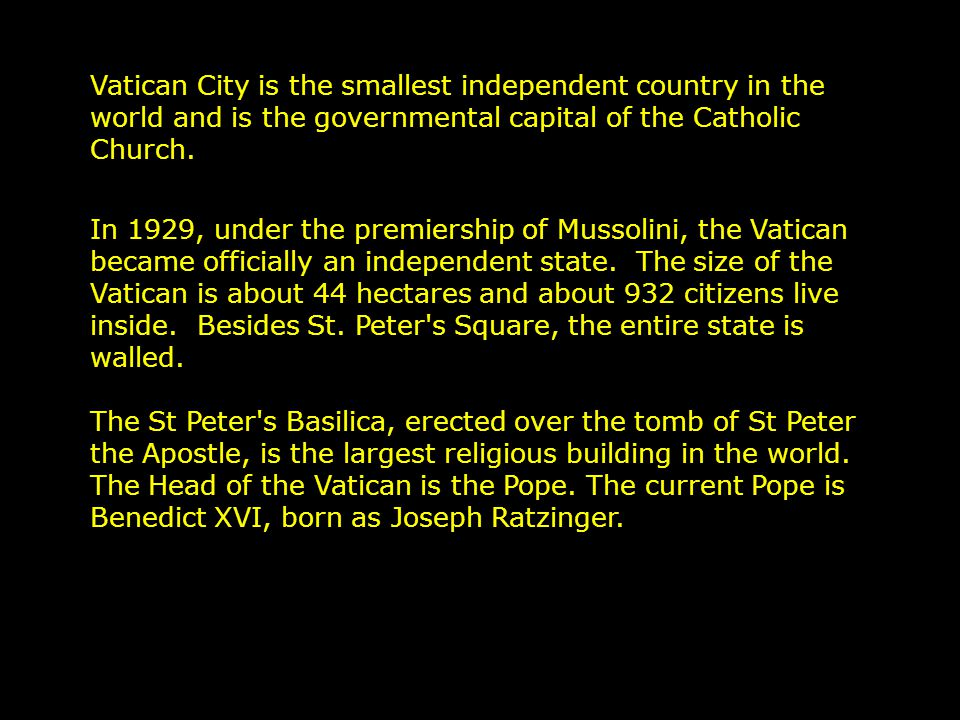 Sit Back, Relax, & Enjoy The Music, Photos, and Information Vatican City Slides On Auto Advance