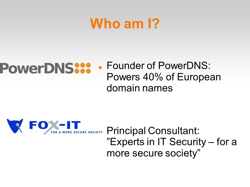 PowerDNS DNS converts www.ipv6day.nl into 145.100.96.6 (or 2001:610:158:960::6!) PowerDNS is the DNS server of around 30%-50% of all European domains, in use by the largest DNS operators in the world You use it every day First DNS server to be able to run from a database First DNS server with easy DNSSEC ..