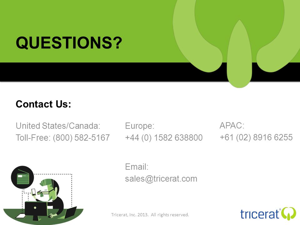 QUESTIONS. United States/Canada: Toll-Free: (800) 582-5167 Tricerat, Inc.