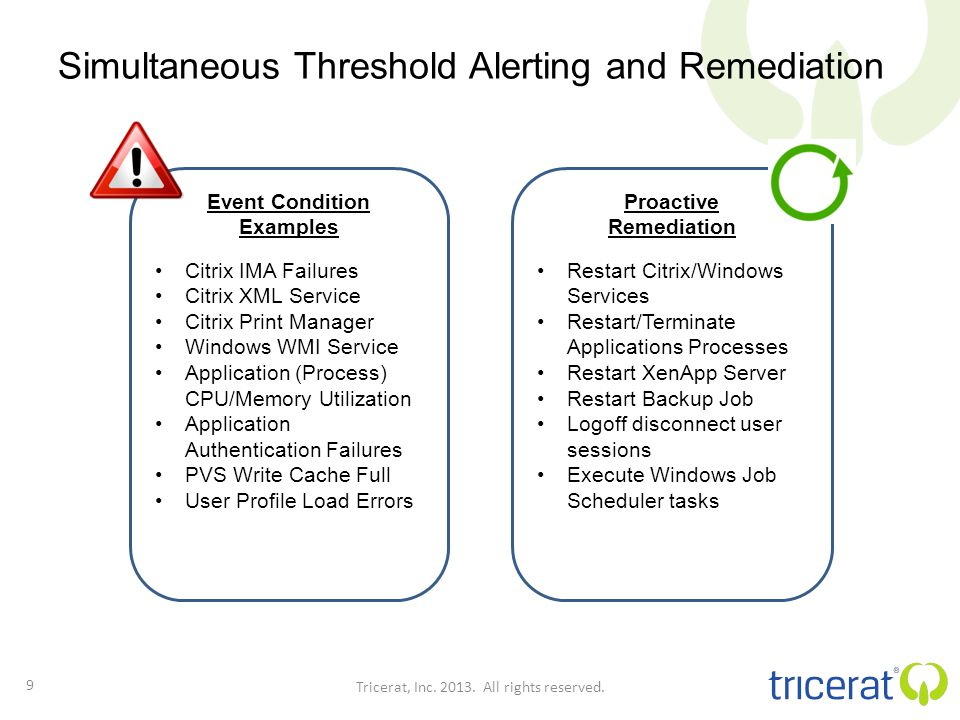 Simultaneous Threshold Alerting and Remediation 9 Tricerat, Inc.