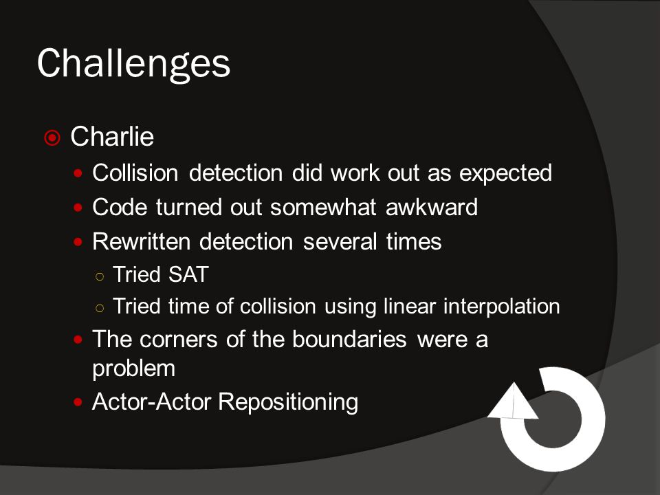 Challenges  Charlie Collision detection did work out as expected Code turned out somewhat awkward Rewritten detection several times ○ Tried SAT ○ Tried time of collision using linear interpolation The corners of the boundaries were a problem Actor-Actor Repositioning