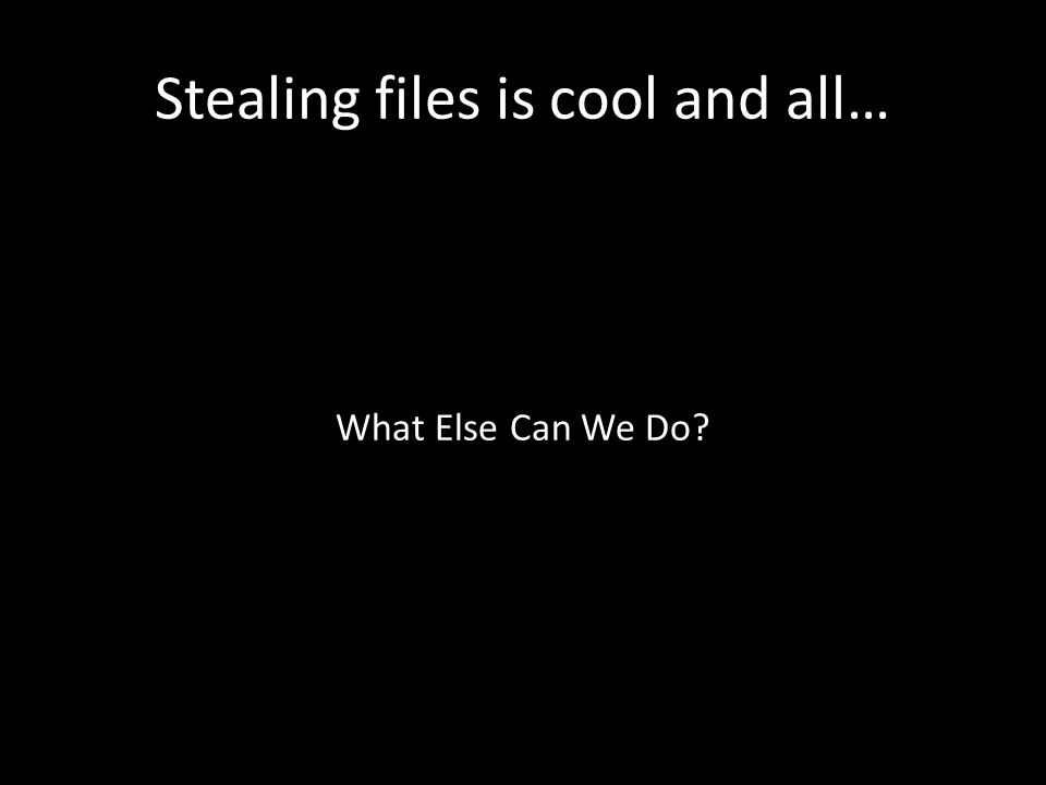Stealing files is cool and all… What Else Can We Do