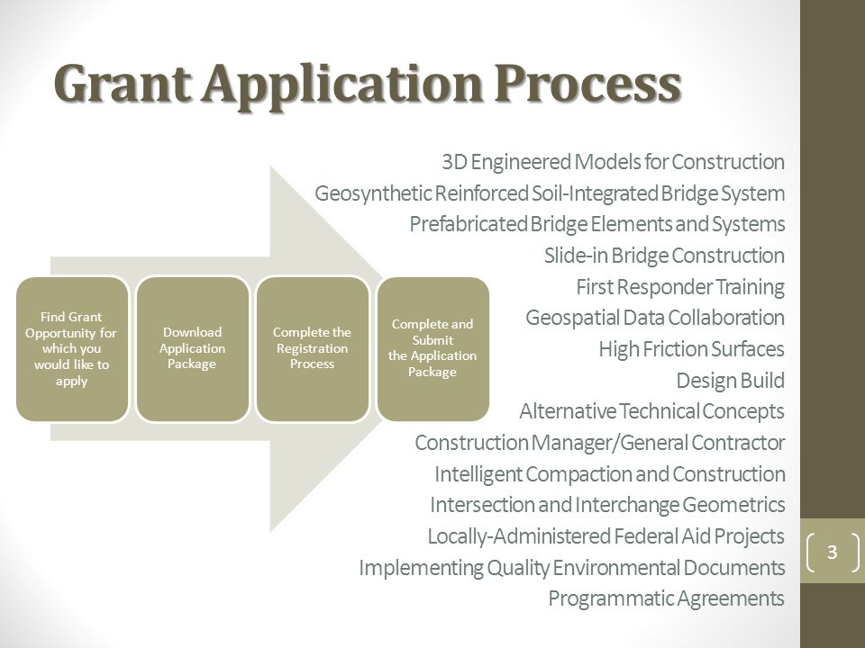 Grant Application Process 3 Find Grant Opportunity for which you would like to apply Download Application Package Complete the Registration Process Complete and Submit the Application Package 3D Engineered Models for Construction Geosynthetic Reinforced Soil-Integrated Bridge System Prefabricated Bridge Elements and Systems Slide-in Bridge Construction First Responder Training Geospatial Data Collaboration High Friction Surfaces Design Build Alternative Technical Concepts Construction Manager/General Contractor Intelligent Compaction and Construction Intersection and Interchange Geometrics Locally-Administered Federal Aid Projects Implementing Quality Environmental Documents Programmatic Agreements