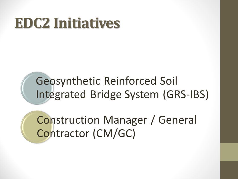 GRS-IBS GRS ‐ Geosynthetic Reinforced Soil An engineered fill of closely spaced (< 12 ) alternating layers of compacted granular fill material and geosynthetic reinforcement IBS ‐ Integrated Bridge System A fast, cost‐effective method of bridge support that blends the roadway into the superstructure using GRS technology