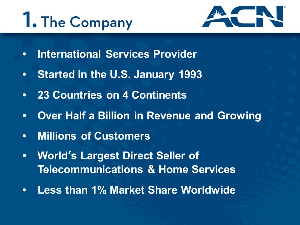 International Services Provider Started in the U.S. January 1993 23 Countries on 4 Continents Over Half a Billion in Revenue and Growing Millions of C