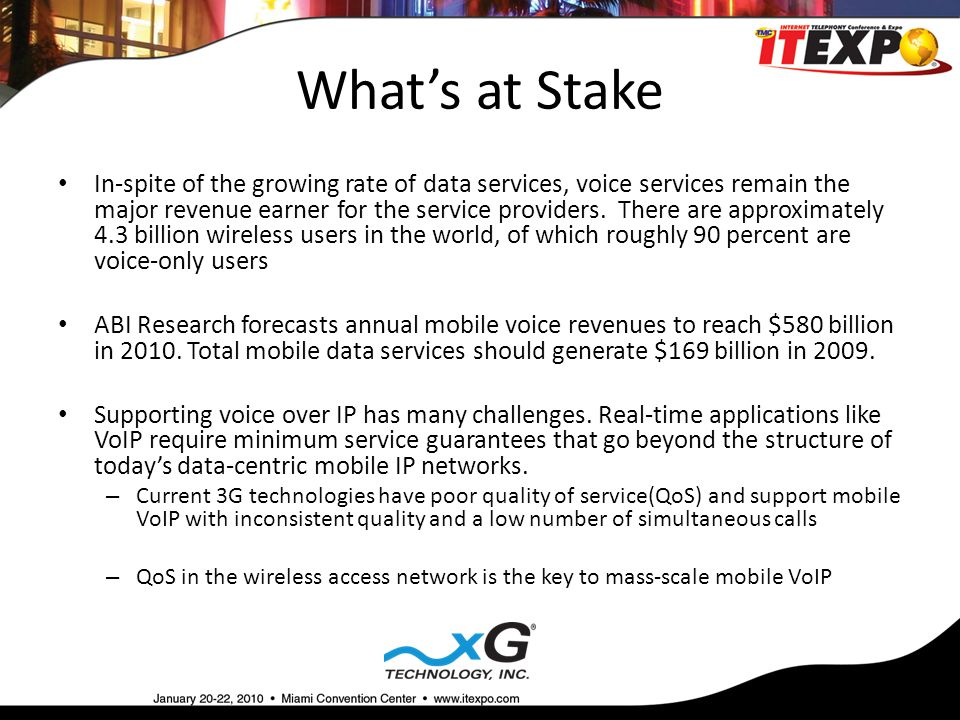 What's at Stake In-spite of the growing rate of data services, voice services remain the major revenue earner for the service providers.