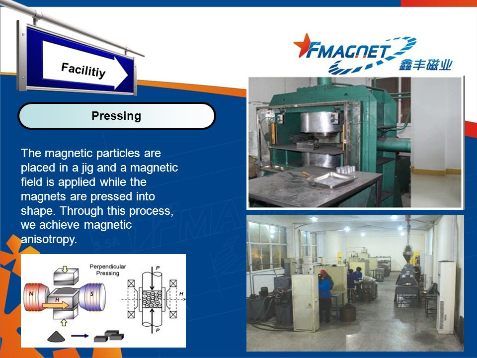 The magnetic particles are placed in a jig and a magnetic field is applied while the magnets are pressed into shape.