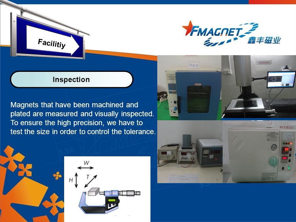 Magnets that have been machined and plated are measured and visually inspected.