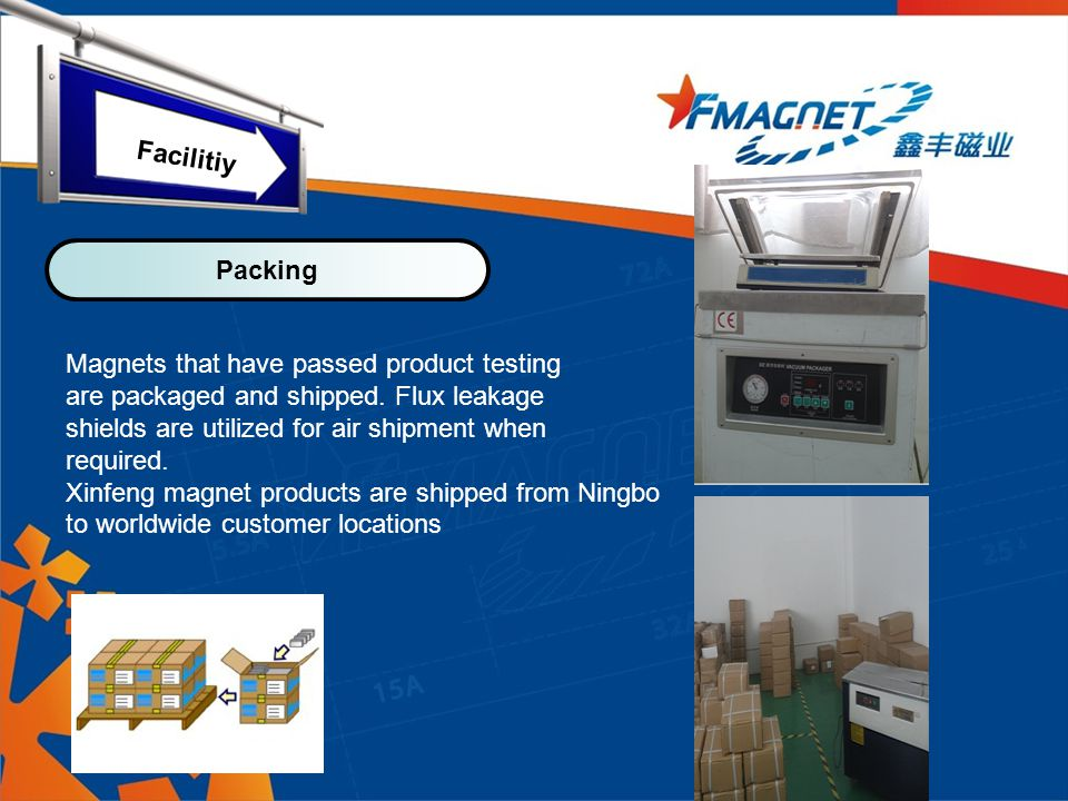 Magnets that have passed product testing are packaged and shipped.