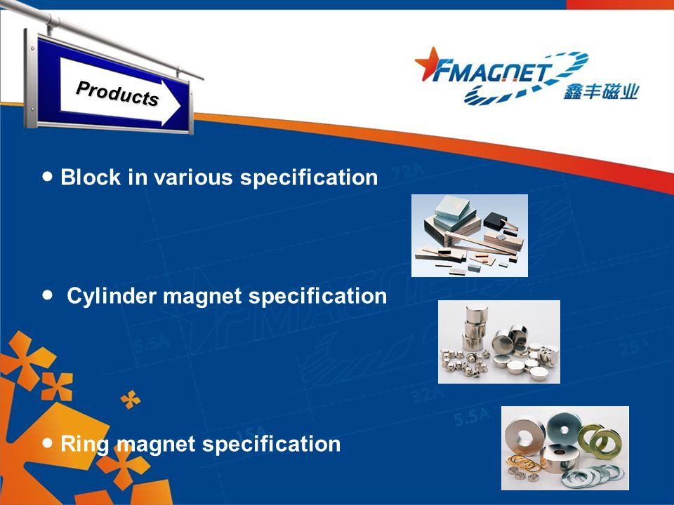 ● Block in various specification ● Cylinder magnet specification ● Ring magnet specification Products