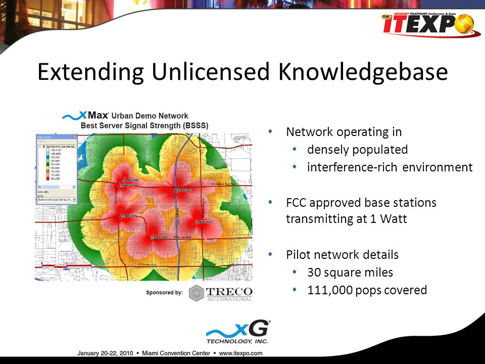 Extending Unlicensed Knowledgebase Network operating in densely populated interference-rich environment FCC approved base stations transmitting at 1 Watt Pilot network details 30 square miles 111,000 pops covered