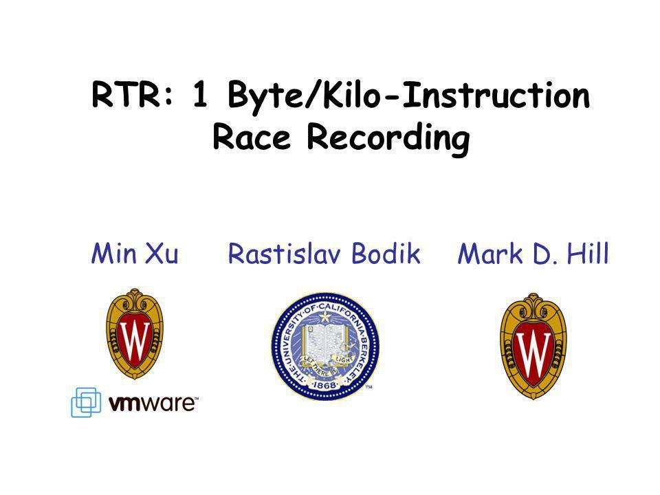 RTR: 1 Byte/Kilo-Instruction Race Recording Min Xu Rastislav BodikMark D. Hill