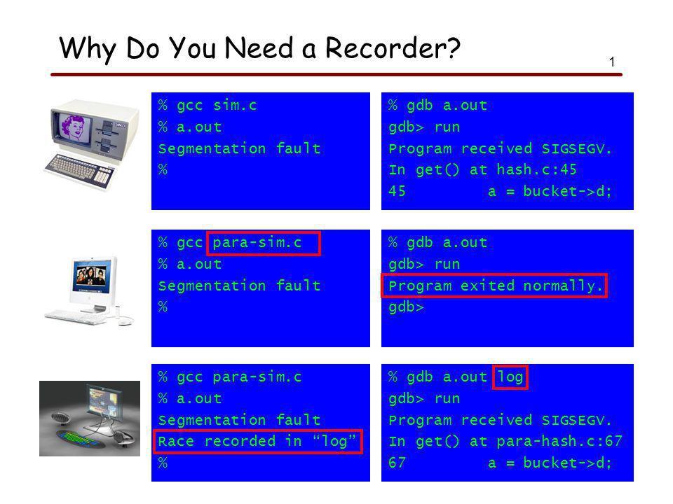 1 % gcc sim.c % a.out Segmentation fault % % gdb a.out gdb> run Program received SIGSEGV.