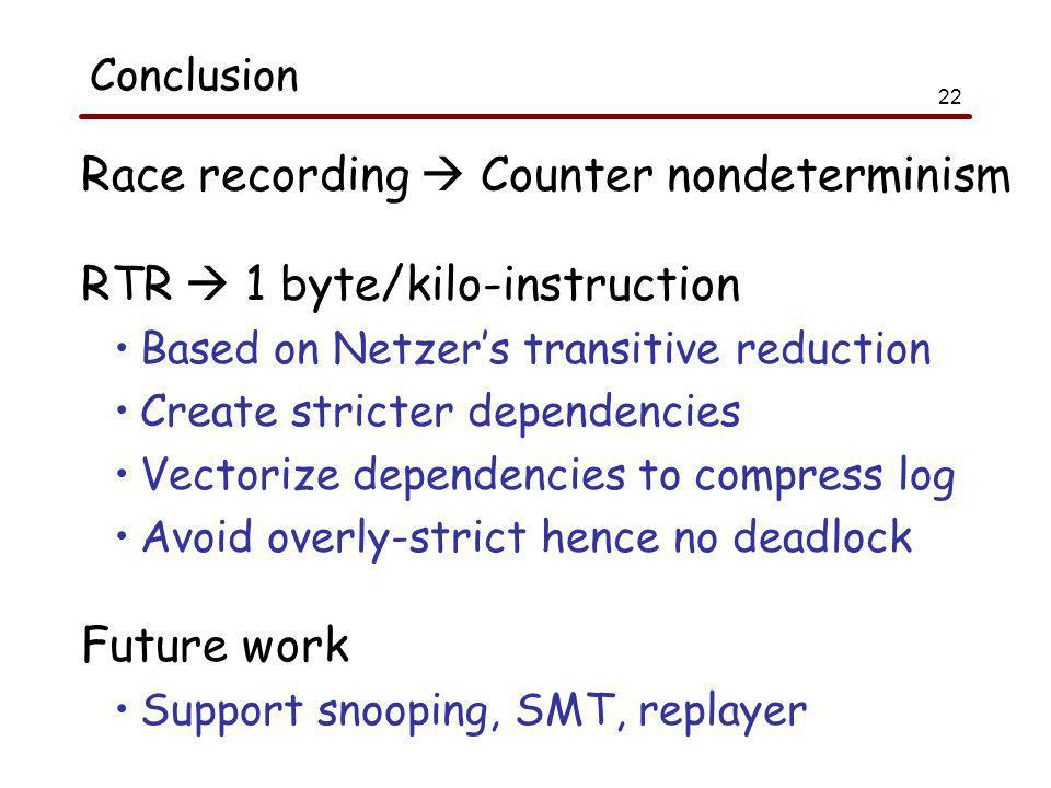 22 Conclusion Race recording  Counter nondeterminism RTR  1 byte/kilo-instruction Based on Netzer's transitive reduction Create stricter dependencies Vectorize dependencies to compress log Avoid overly-strict hence no deadlock Future work Support snooping, SMT, replayer