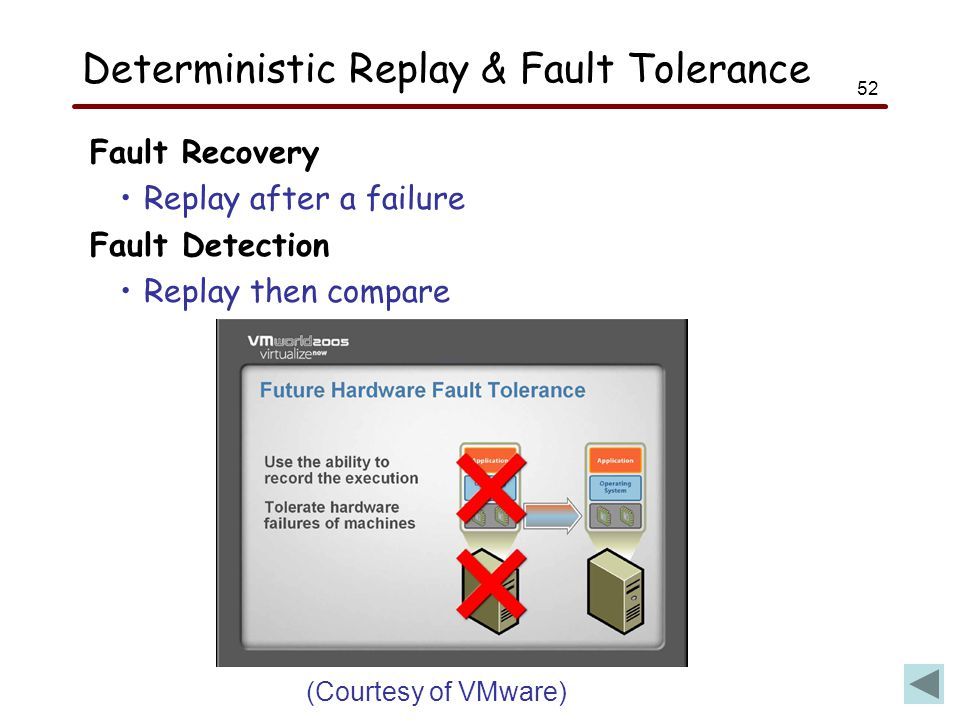 52 Deterministic Replay & Fault Tolerance Fault Recovery Replay after a failure Fault Detection Replay then compare (Courtesy of VMware)