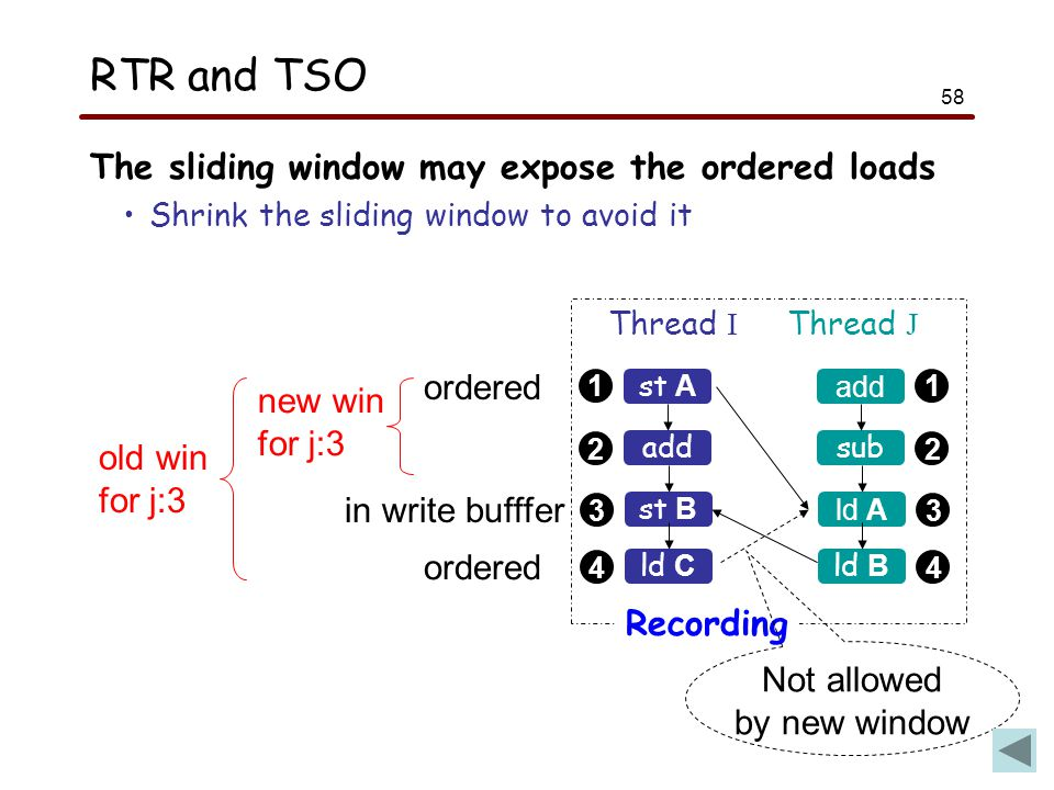 58 RTR and TSO The sliding window may expose the ordered loads Shrink the sliding window to avoid it 1 2 1 2 st A Thread I Thread J add sub Recording 33 st B ld A 44 ld C ld B ordered in write bufffer ordered new win for j:3 old win for j:3 Not allowed by new window
