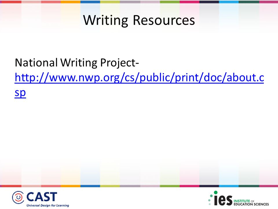 Writing Resources National Writing Project- http://www.nwp.org/cs/public/print/doc/about.c sp http://www.nwp.org/cs/public/print/doc/about.c sp